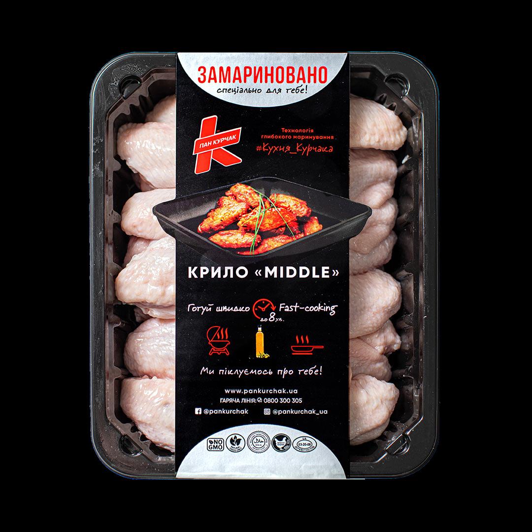 Купити крило Midle — замариноване оптом, Пан Курчак лоток, курятина охолоджена