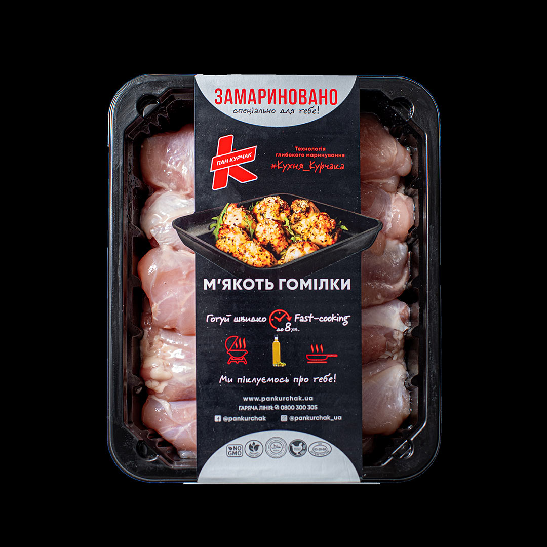 Купити м'якоть гомілки — замаринована оптом, Пан Курчак лоток, курятина охолоджена. курятина лоток, курятина упаковка, пан курчак лоток, chicken packing, chicken packed, packed chicken, упаковка курятины, курятина охолоджена