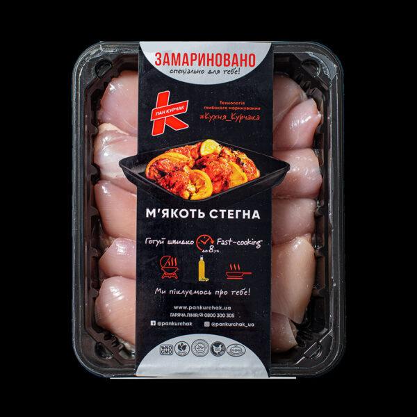Купити м'якоть стегна — замаринована оптом, Пан Курчак лоток, курятина охолоджена. курятина лоток, курятина упаковка, пан курчак лоток, chicken packing, chicken packed, packed chicken, упаковка курятины, курятина охолоджена
