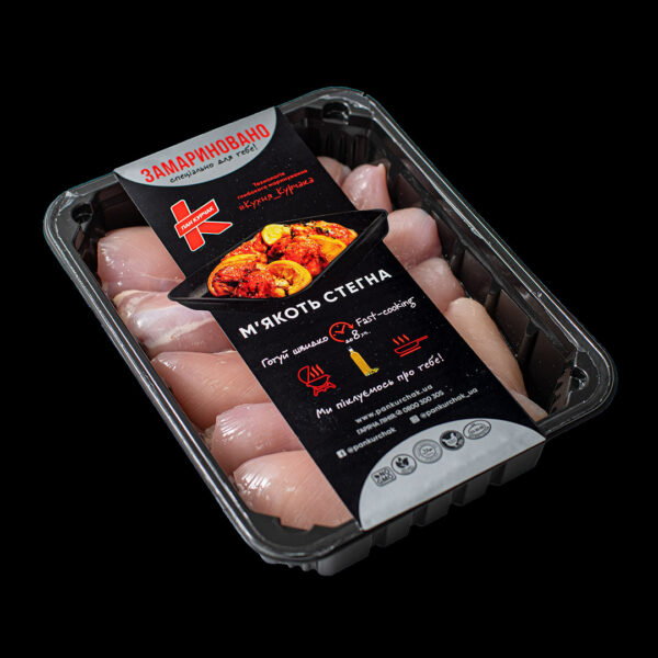 Купити м'якоть бедра — замаринована оптом, Пан Курчак лоток, chicken packaging. курятина лоток, курятина упаковка, пан курчак лоток, chicken packing, chicken packed, packed chicken, упаковка курятины, курятина охолоджена